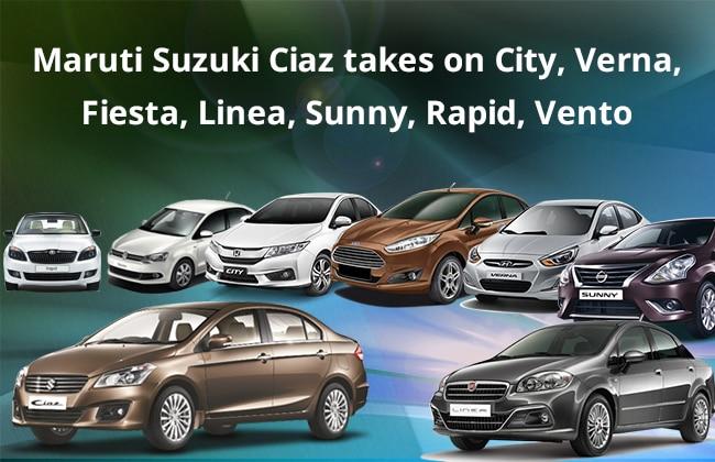 Maruti Suzuki Ciaz vs Honda City, Verna, Fiesta, Vento, Rapid, Linea and Sunny
