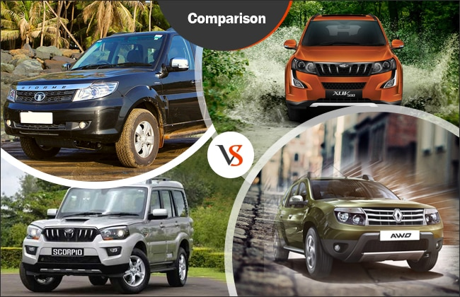 launch comparison tata safari storme vs mahindra xuv500 vs duster awd vs mahindra scorpio. Black Bedroom Furniture Sets. Home Design Ideas
