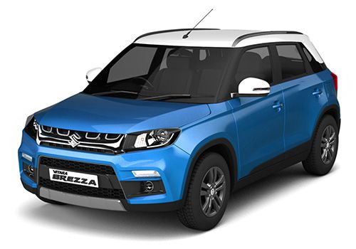 Maruti Vitara Brezza Cerulean Blue with Pearl Arctic White Color