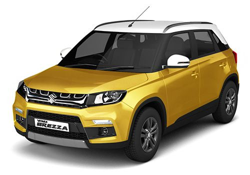 Maruti Vitara Brezza Fiery Yellow with Pearl Arctic White Color